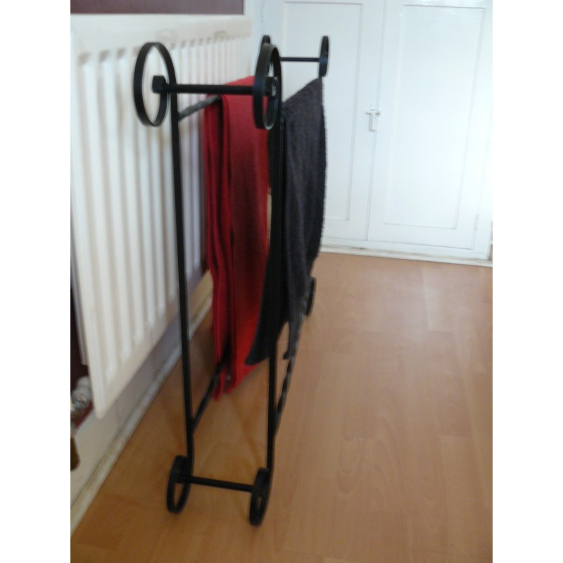 Towel Rack Free Standing Wrought Iron Handmade Scrolled