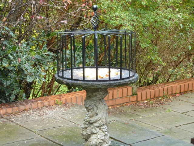 wrought iron birdbath top