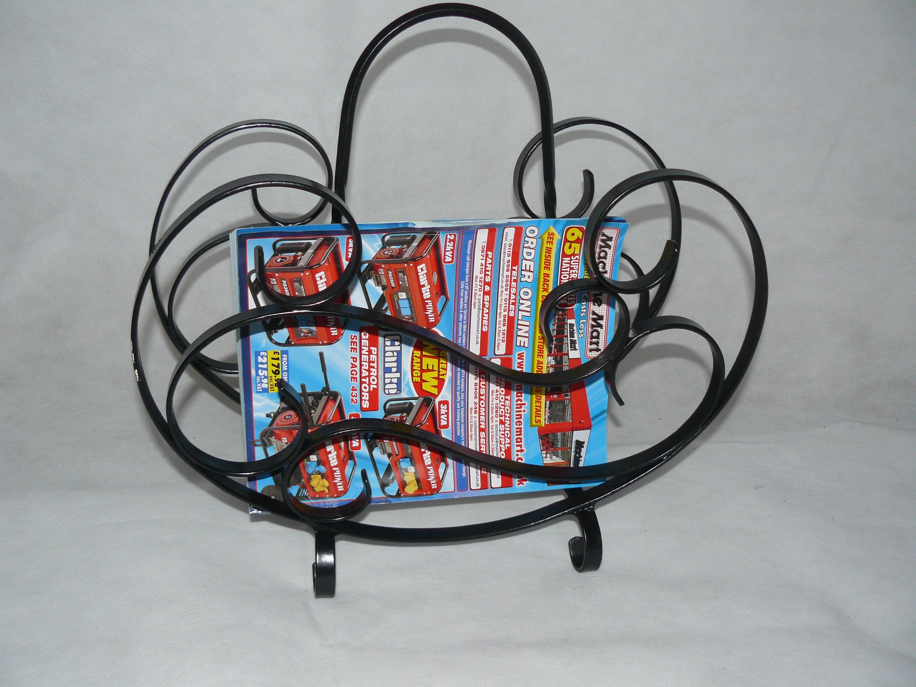 wrought iron magazine rack